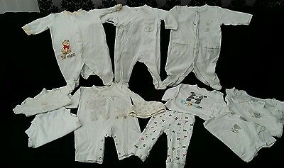 Baby 0-3 months Sleepsuits/ Vests Bundle NEUTRAL