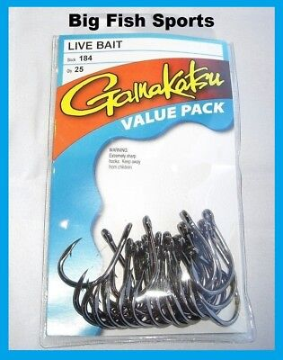 Gamakatsu #184 Live Bait Nsb Value Pack 25 Hooks! New! Pick Your Size!