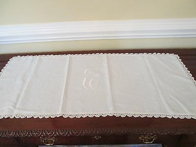 "Antique Whitework Embroidered ""C"" Monogram Linen Euro Layover Pillow/ Sheet sham"