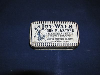 Vintage Tin Joy-Walk Corn Plasters Aseptic Products Company Great Graphics
