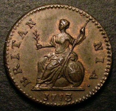 1773 UNC George III Copper Farthing CGS 78 MS63 - MS64