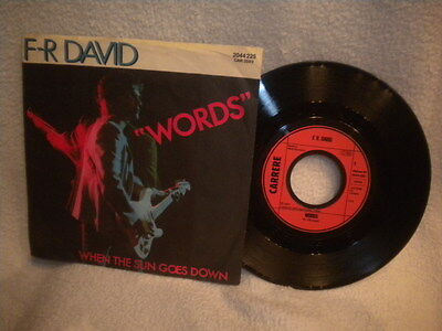 """7"""" F-R David -- Words / When The Sun Goes Down"""