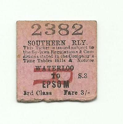 SR ticket, Waterloo to Epsom, 1923 (LSWR transitional)