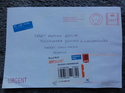 GB QEII Airsure coverto France with red label PPi £6.67 2007 with Air Mail Label