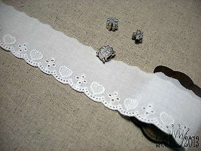 3Yds Broderie Anglaise cotton eyelet lace trim 3.5cm white YH1438 laceking2013