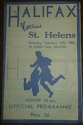 Halifax v St Helens Sat 11th Feb 1950 Rugby League Championship