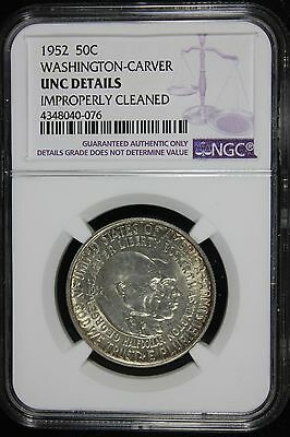 1952 Washington-Carver Commemorative Half Dollar (UNC Details) NGC Imp. Cleaned