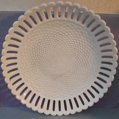 Victorian Sowerby White Milk Glass Press Moulded Bread Bowl Dish Plate