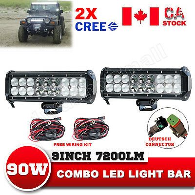 2x 9Inch 90W CREE LED Work Light Bar Combo Off road 4WD Truck 120W Wiring Kit 24