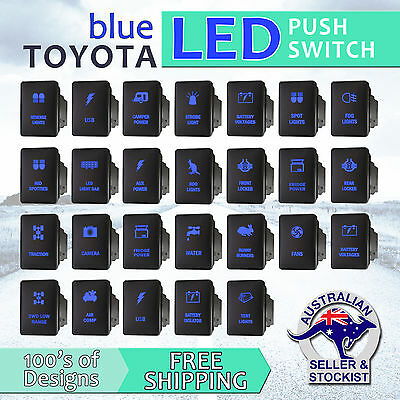 12V Blue LED Fog Light Bar Push Switch For Toyota 2015 Hilux Prado 150 200 rav4