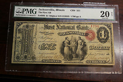 Original Series 1st Charter $1 First National Bank Jacksonville IL PMG VF20 Net