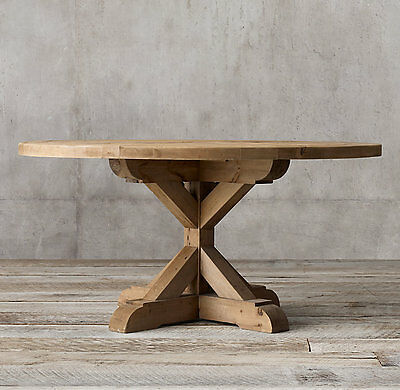 Solid Oak Round Dining Table, distressed rustic shabby chic