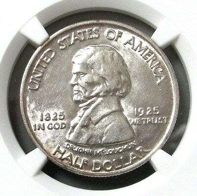 1925 Silver Fort Vancouver Commemorative Half Dollar Ngc About Unc 58