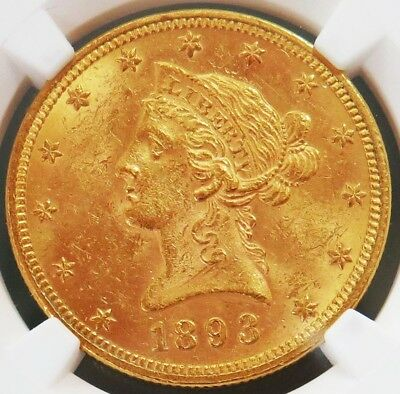 1893 Gold United States $10 Liberty Head Coin Ngc Mint State 61