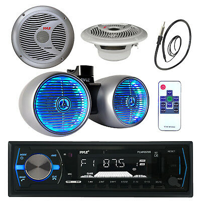 "1200W 8"" Wake Board Speaker, Marine 6.5"" Speakers, Antenna, Bluetooth USB Radio"