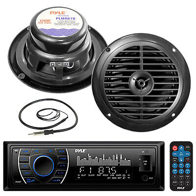 "Black Marine 6.5"" Speakers, Pyle 300W USB AM FM AUX Marine Radio, Marine Antenna"