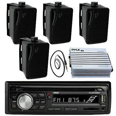 "Pyle 3.5"" Box Marine Speakers, PLMRB29B Marine AUX USB Radio, Antenna, 400W Amp"