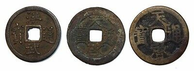 Chine / China Ming dynasty 3 coins