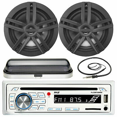 """Pyle Bluetooth AUX USB Radio, 4 Dust Cover /& Antenna 6.5/"""" 120W Boat Speakers"""