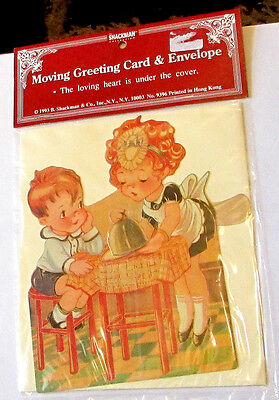 Old Store Stock Shackman Die Cut 3D Girl Maid Boy Valentine's Day Greeting Card