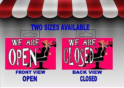 Hairdressers Ladies Hair Salon open & Closed Shop Door Sign retail Sign