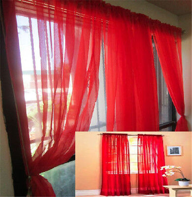 1PC Home Floral Tulle Voile Door Window Curtain Drape Panel Sheer Scarf Valances