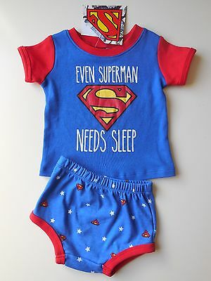 Cute Baby Boy Superman Top + Nappy Cover Pajamas Size 000 Fits 0-3M