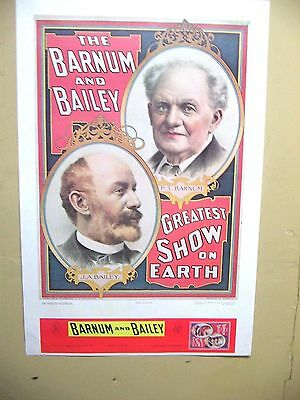 """Vintage Barnum And Bailey Greatest Show On Earth Poster ~ 38"""" X 25"""""""