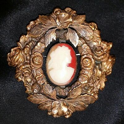 Large Antq Victorian Glass Cameo Brooch Vtg Floral Pivot Ornate Brass Flower Pin