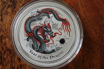 2012 Australia Lunar Dragon 1 Oz Black Colored Colorized *from Mint Roll*