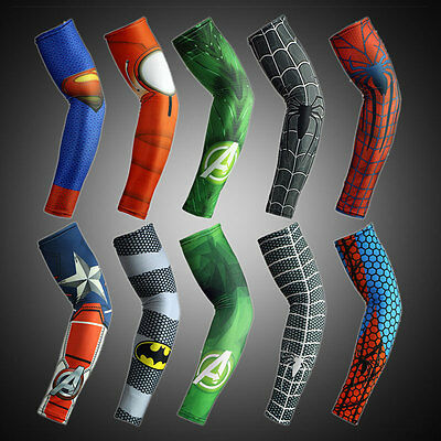 2PC Mens Super Hero Basketball Cycling Sport Shooter Compression Arm Sleeve