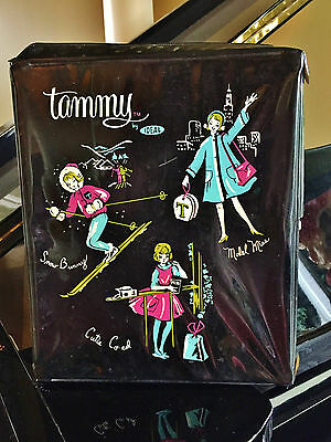 """1960s Ideal Fashion Tammy PEPPER Doll CASE only 12"""" x 10"""" Black storage trunk"""