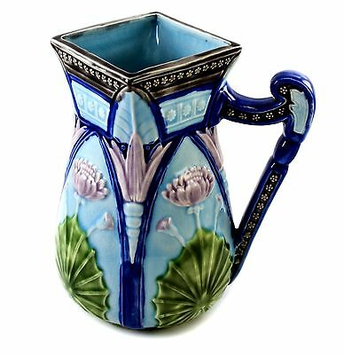 Copeland Majolica Neo-Egyptian Four Panel Lotus Reproduction Water Pitcher