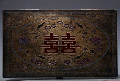 Unusual Rare Old Chinese Bronze Rectangle Jewelry Cover Box Collection NA178