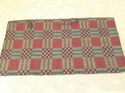 """1800's Antique Woven  Red & Indigo Blue Coverlet  Piece 15 by 29"""""""