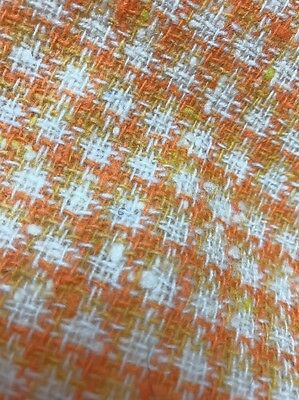 "Vintage Wool Tweed Fabric  55X62"" Orange Yellow And Cream"