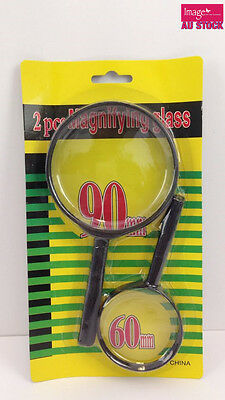 2pcs Magnifying Glass 90mm and 60mm with Black Plastic Handle and Rim TXK 11200