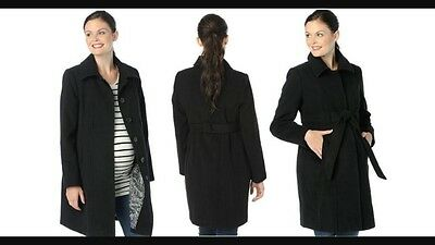 NWT Oh Baby By Motherhood Maternity Black Belted Faux Wool Coat Size Small S