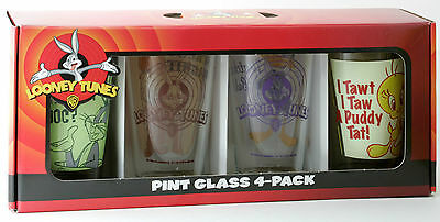 New Looney Tunes 4 Pack  Pint Glass Set
