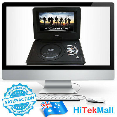"""AU Brand New 9.8"""" Portable DVD Player DivX,Swivel, USB,SD,300 GAMES,Rechargeable"""