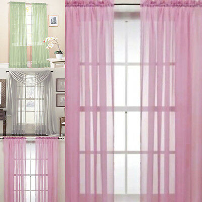New Solid Color Voile Sheer Curtain Panel Window Curtains 100*200cm