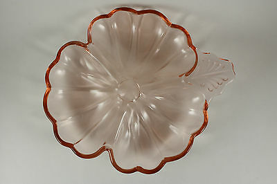 Jeannette Depression Glass Pink Clover Leaf Divided Candy Dish or Nappy Dish USA