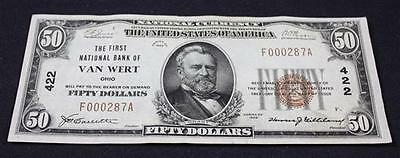 NATIONAL CURRENCY 50 DOLLAR NOTE SERIES 1929, FIRST NATIONAL BANK VAN... Lot 694