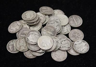 †44 MERCURY AND ROOSEVELT SILVER DIMES *tax exempt* Lot 392