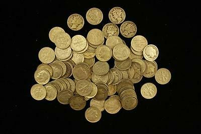 †87 MERCURY AND ROOSEVELT SILVER DIMES *tax exempt* Lot 798