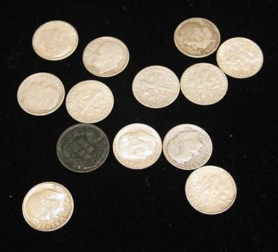 12 SILVER ROOSEVELT DIMES AND 1 INDIAN HEAD CENT Lot 799