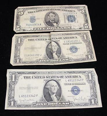 SERIES 1934 FIVE DOLLAR SILVER CERTIFICATE AND 2 SERIES 1935 ONE DOLL... Lot 779