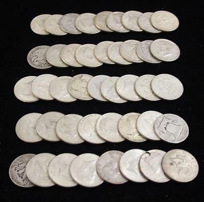 †43 WALKING LIBERTY, FRANKLIN, AND 1964 KENNEDY SILVER HALF DOLLARS (... Lot 746