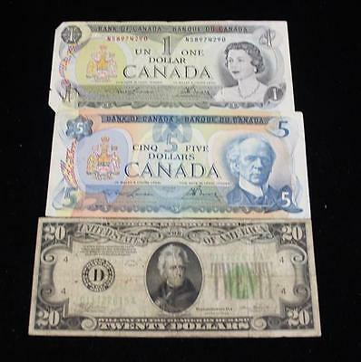 SERIES 1934 TWENTY DOLLAR FEDERAL RESERVE NOTE AND CANADIAN CURRENCY Lot 646