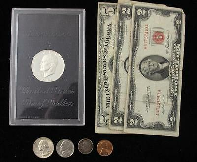 MIXED LOT INCLUDING 1971 EISENHOWER PROOF, SERIES 1953 FIVE DOLLAR SI... Lot 230